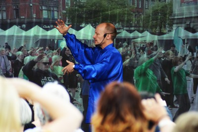 turtlelodeghealing.co.uk image: Jason teaching Tai Chi in Old Market Square, Nottingham